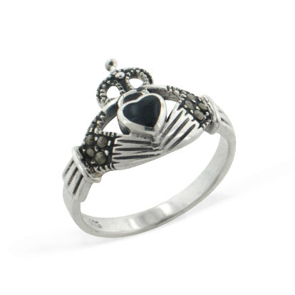 Black Onyx and Marcasite Celtic Claddagh Sterling Silver Ring