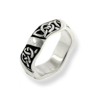 Men's Wavy Band Thick 6mm Celtic Knot Sterling Silver Wedding Ring