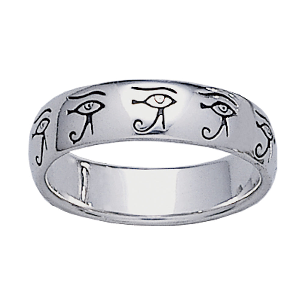 Egyptian Eye of Horus Sterling Silver Band Ring - Silver Insanity