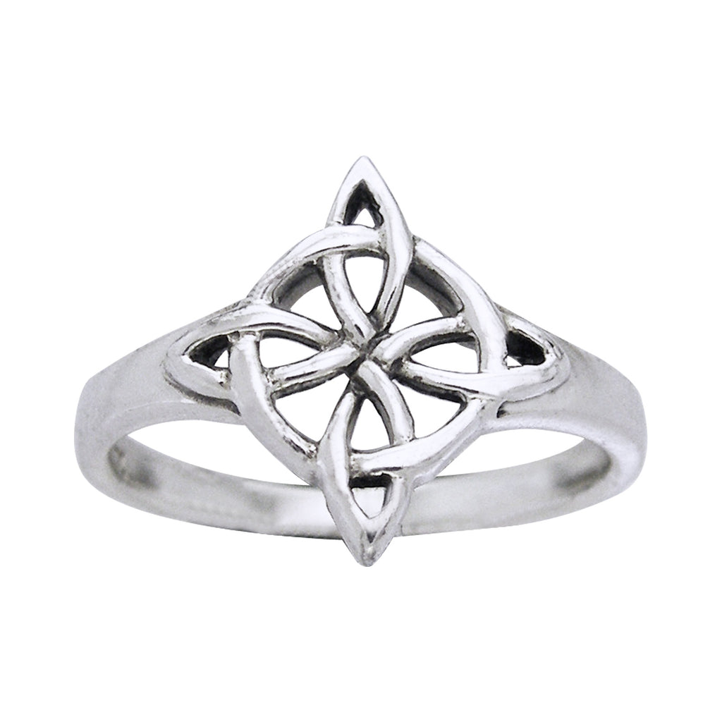 Northstar Quaternary Celtic Shield Knot Sterling Silver Ring