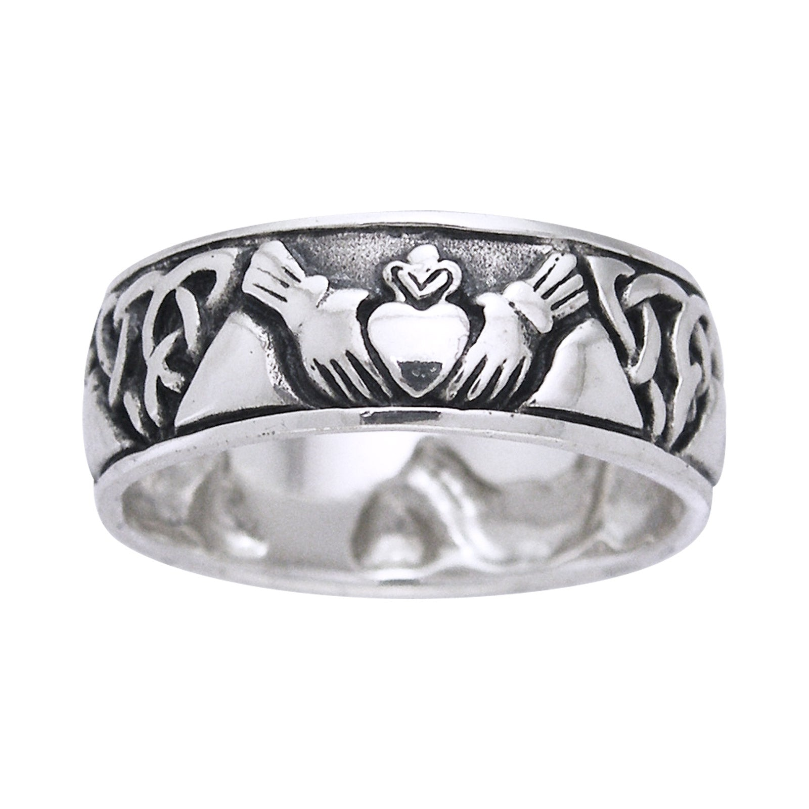 Sterling Silver Claddagh Triquetra Celtic Knot Band Ring - Silver Insanity