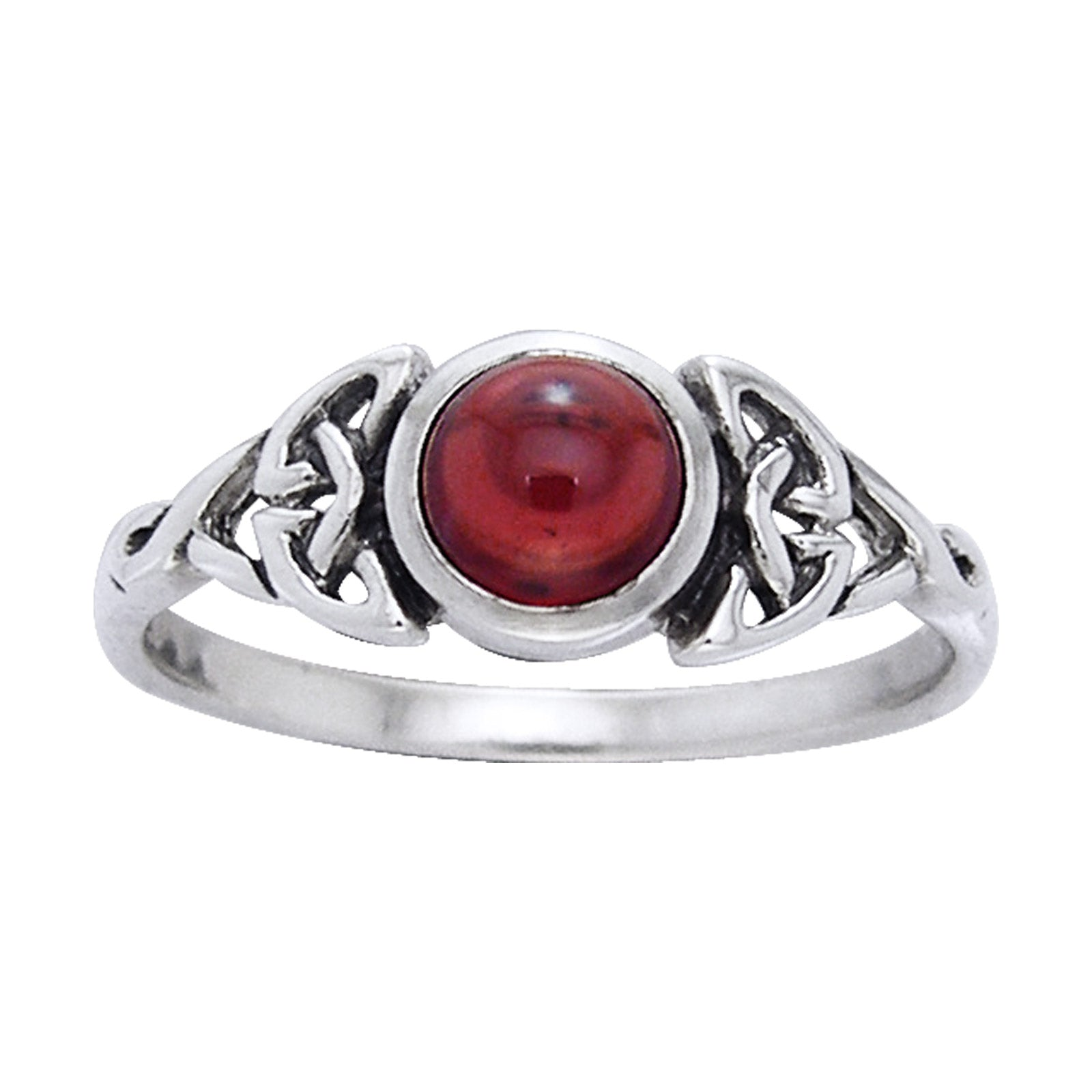 Genuine Garnet Celtic Knot Ring with Round Gemstone Sterling Silver - Silver Insanity
