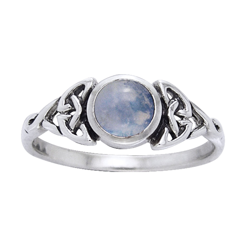 Genuine Rainbow Moonstone Celtic Knot Ring with Round Gemstone Sterling Silver