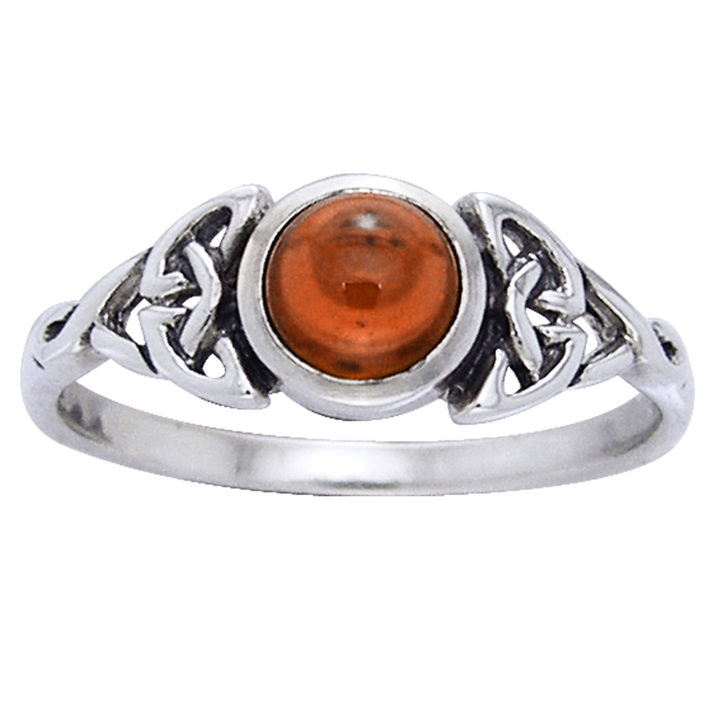 Simulated Amber Celtic Knot Ring with Round Gemstone Sterling Silver - Silver Insanity