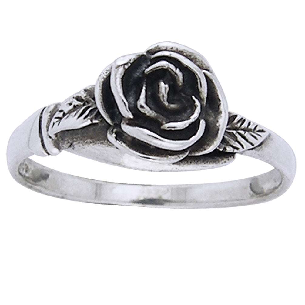 Small Sterling Silver Detailed Rose Flower Ring