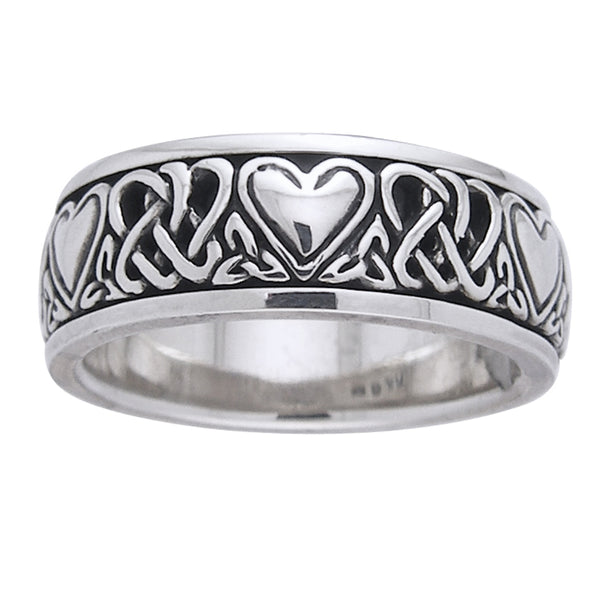 Sterling Silver Celtic Heart Knot Spinner Ring - Silver Insanity