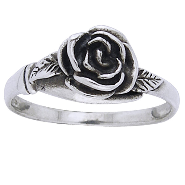 Small Sterling Silver Detailed Rose Flower Ring - Silver Insanity