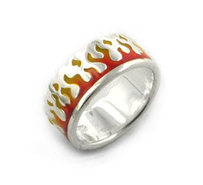 Pyro Firefighter's Ring of Flames Sterling Silver Burning Fire Band