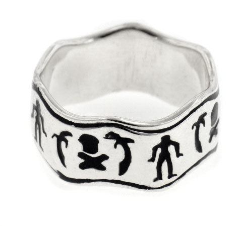 Black Bart Pirate Flag Sterling Silver Wave Band Ring - Silver Insanity