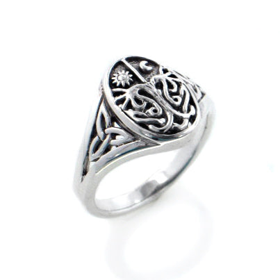 Celtic Trinity Knot Tree of Life with Sun and Moon Sterling Silver Ring