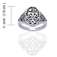 Celtic Trinity Knot Tree of Life with Sun and Moon Sterling Silver Ring - Silver Insanity