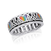 Sterling Silver Celtic Knot and Rainbow Peace Heart Spinning Ring - Silver Insanity