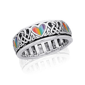 Sterling Silver Celtic Knot and Rainbow Peace Heart Spinning Ring
