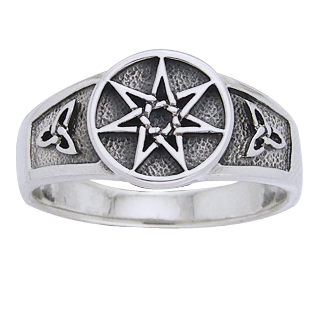 Sterling Silver Faerie or Elven Star and Celtic Knot Ring - Silver Insanity