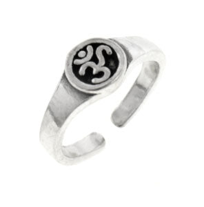 Sterling Silver Aum or OM Yoga Symbol Toe Ring or Pinky Ring - Silver Insanity