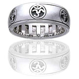Sterling Silver OM or Aum Hindu Yoga Symbol Meditation Spin Ring - Silver Insanity
