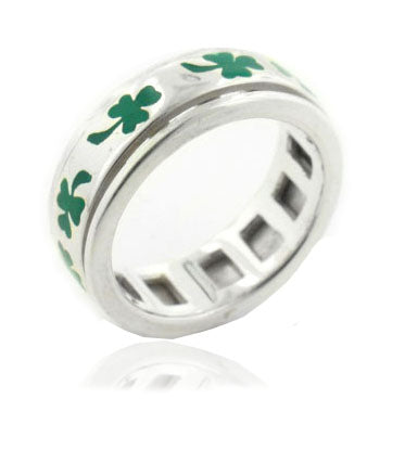 Sterling Silver Irish Shamrock Clover Spin Ring - Silver Insanity