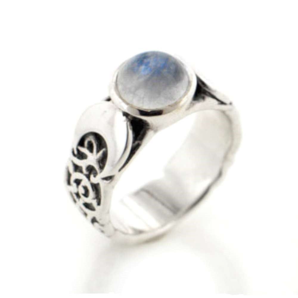 Sterling Silver Lunar Moon Phases and Rainbow Moonstone Ring