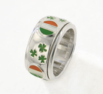Sterling Silver Celtic Irish Flag Spinning Ring