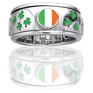Sterling Silver Celtic Irish Flag Spinning Ring - Silver Insanity