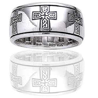 Sterling Silver Celtic Knot Cross Meditation Spin Band Ring - Silver Insanity