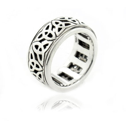 Sterling Silver Celtic Trinity Knot Spin Ring - Silver Insanity