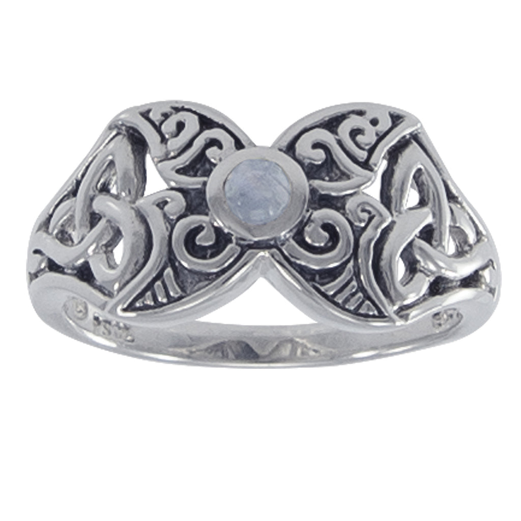 Sterling Silver Celtic Rainbow Moonstone Ring