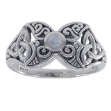 Sterling Silver Celtic Rainbow Moonstone Ring - Silver Insanity
