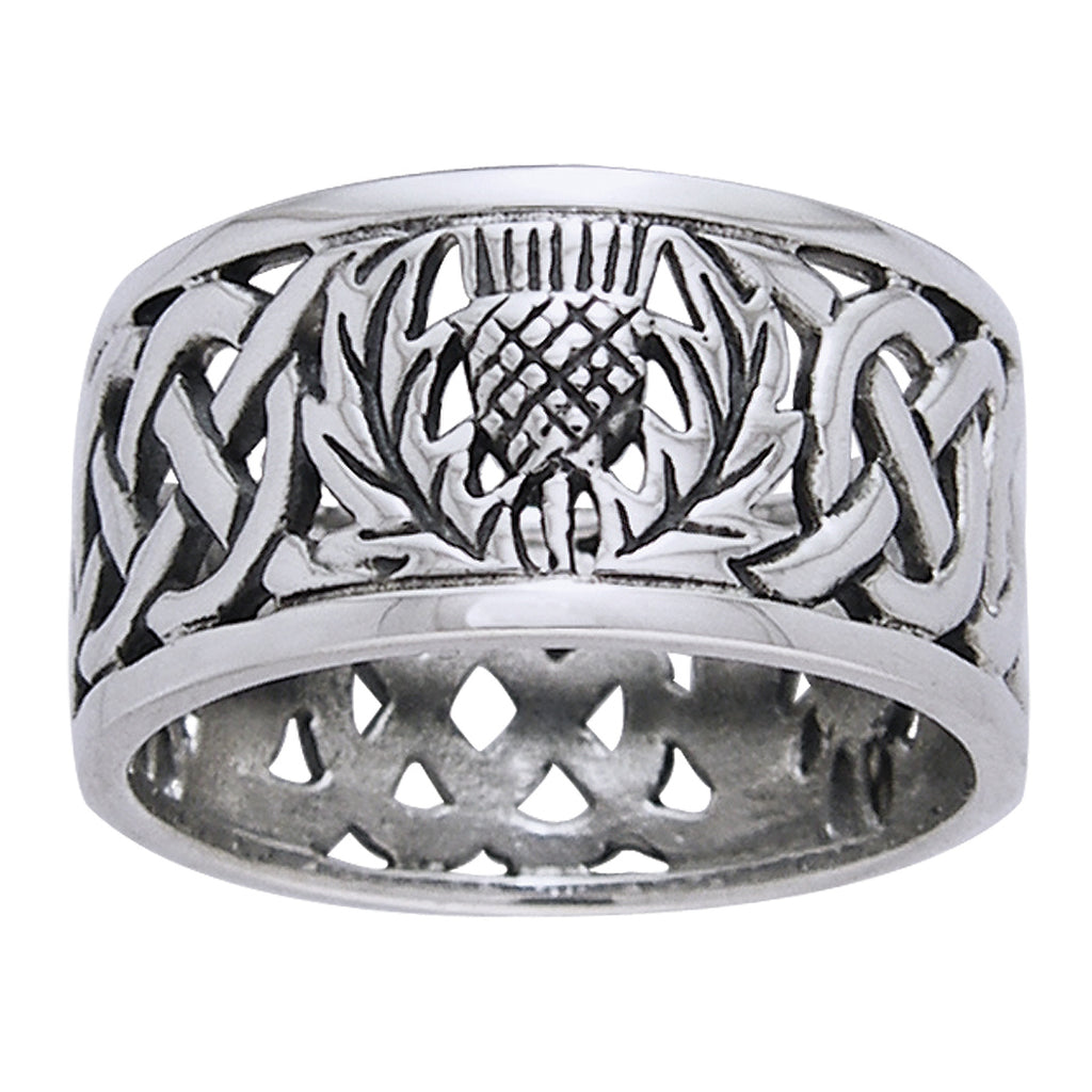 Scottish Thistle Celtic Knot Wedding Band Sterling Silver Ring