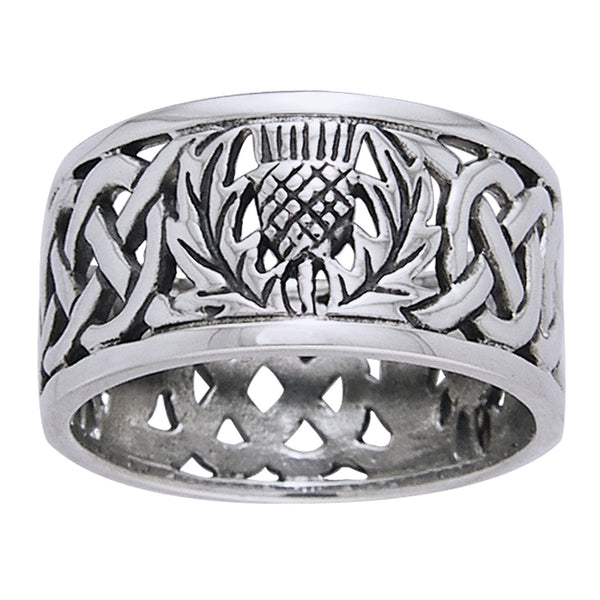 Scottish Thistle Celtic Knot Wedding Band Sterling Silver Ring - Silver Insanity