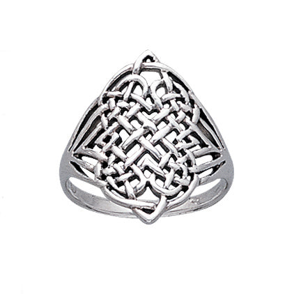 Large Intricate Four Point Celtic Eternity Knot Sterling Silver Ring