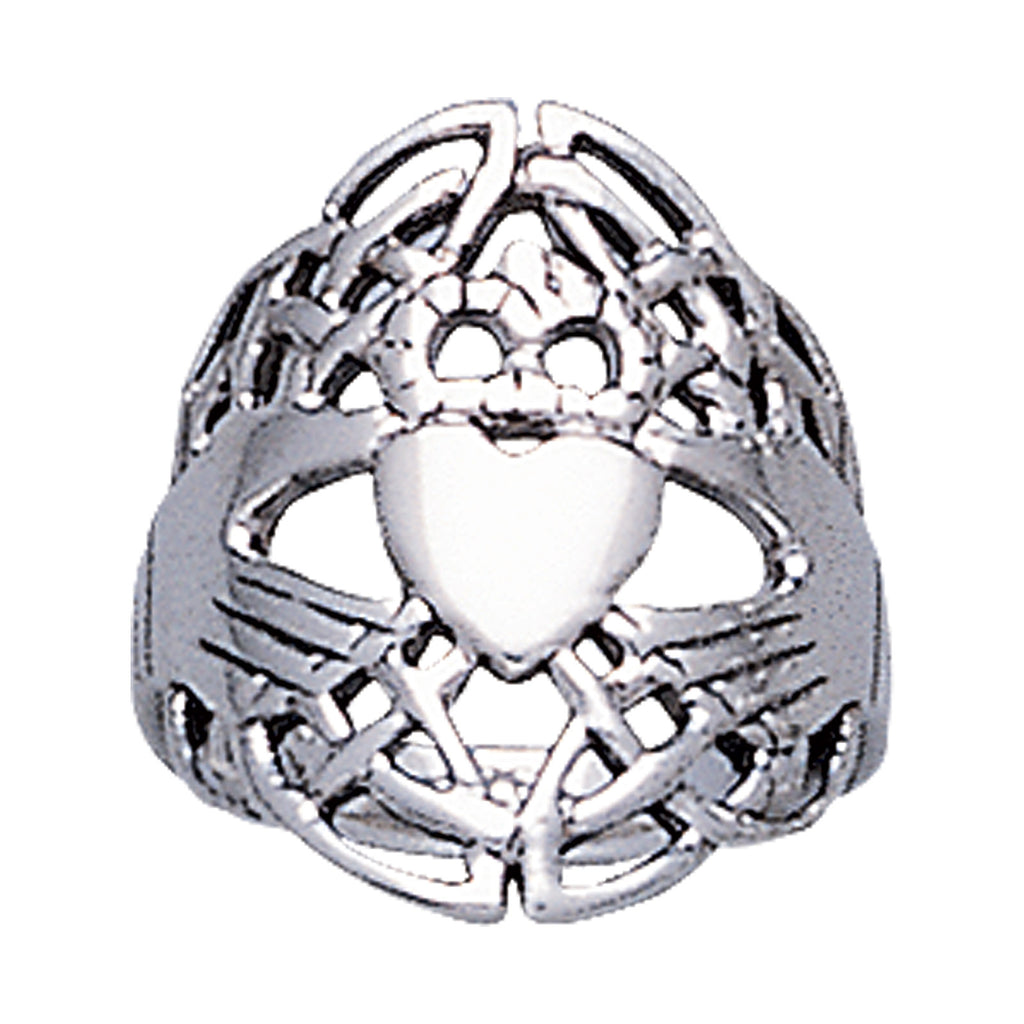 Traditional Sterling Silver Wide Celtic Knot Claddagh Ring
