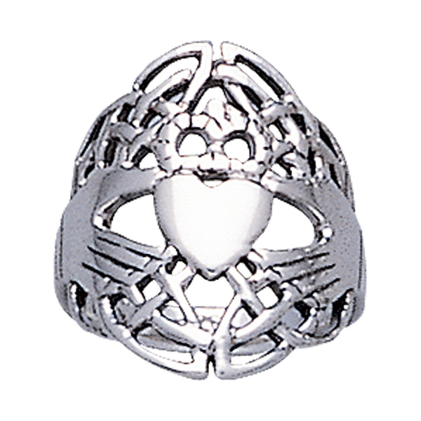 Traditional Sterling Silver Wide Celtic Knot Claddagh Ring - Silver Insanity