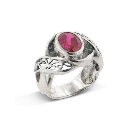 Large Synthetic Blood Red Ruby and Swirl Filigree Sterling Silver Ring - Silver Insanity