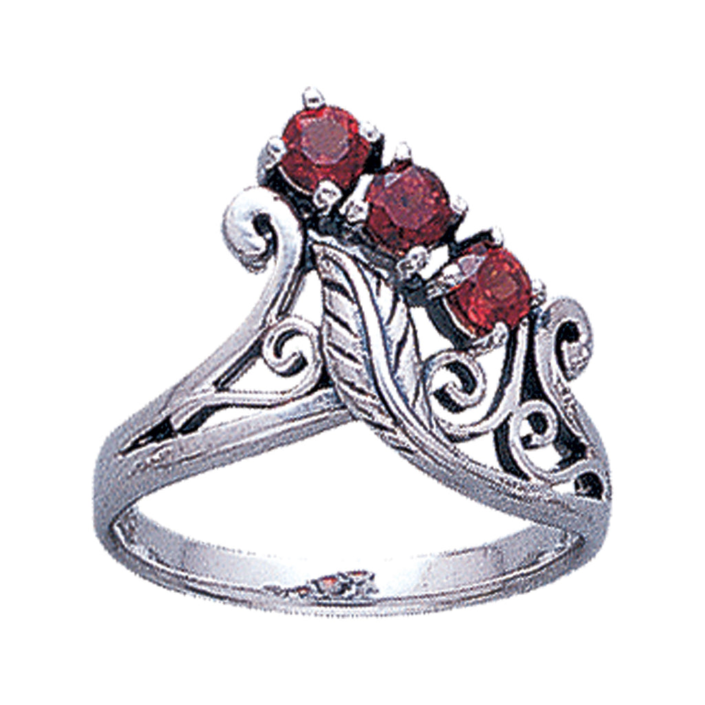 Sterling Silver 3-Stone Faceted Garnet Flower and Leaf Ring