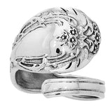 Ornate Sterling Silver Adjustable Spoon Ring