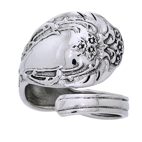 Ornate Sterling Silver Adjustable Spoon Ring - Silver Insanity