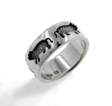 Engraved Pigs Sterling Silver 7mm Wide Piglet Ring Band