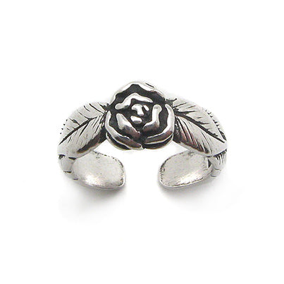 Rose Flower and Leaves Antiqued Sterling Silver Pinky Band Toe Ring