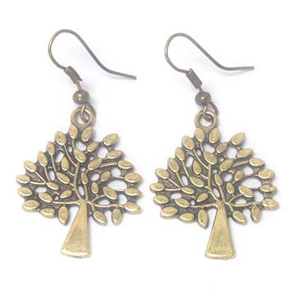 Golden Tree Antiqued Gold Tone Dangle Earrings - Silver Insanity