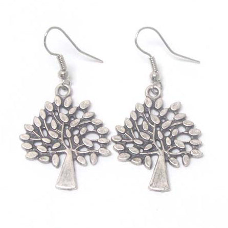 Tree of Life Antiqued Silver-Tone Dangle Earrings - Silver Insanity