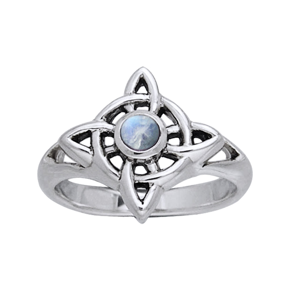 Rainbow Moonstone - North Star Celtic Knot Sterling Silver Ring - Silver Insanity