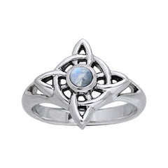 Rainbow Moonstone - North Star Celtic Knot Sterling Silver Ring