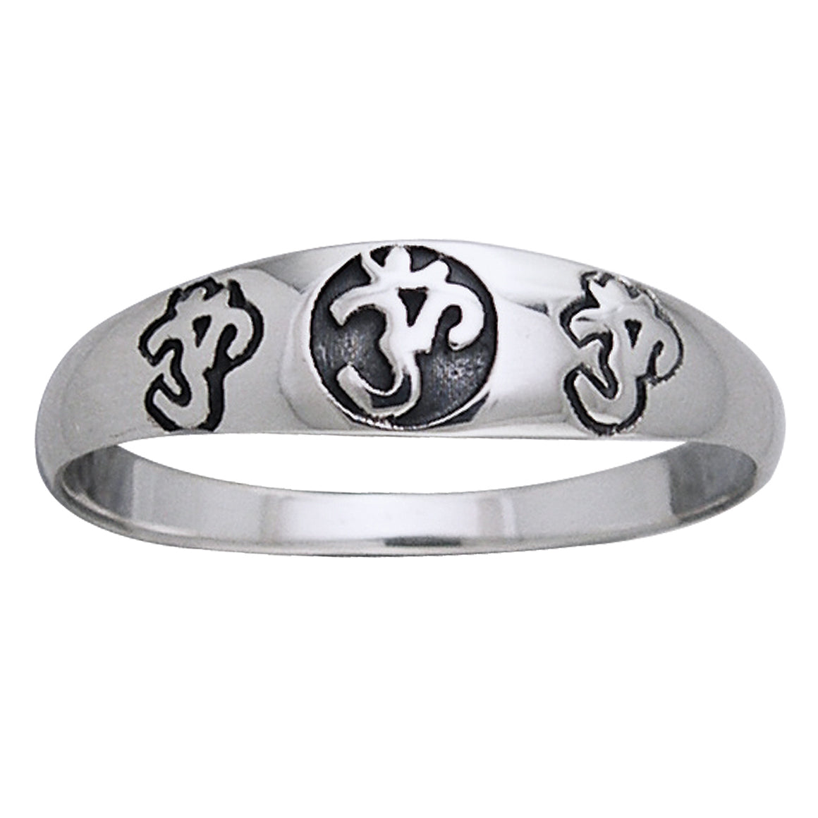 Triple Om 6mm Narrow Band Aum Sterling Silver Pinky Ring