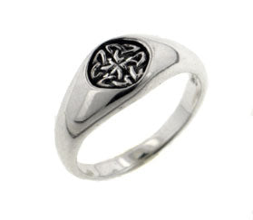 Small Sterling Silver 7mm Celtic Knot Emblem Signet Band Ring