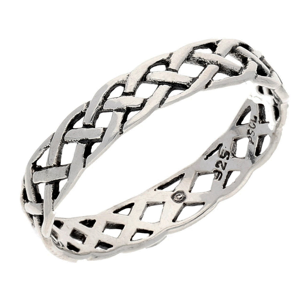 Narrow 4mm Neverending Celtic Knot Sterling Silver Pinky Band Ring