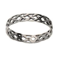 Narrow 4mm Neverending Celtic Knot Sterling Silver Pinky Band Ring - Silver Insanity
