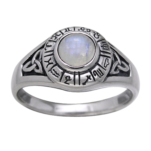 Zodiac Wheel Silver Celtic Knot Moonstone Ring - Silver Insanity