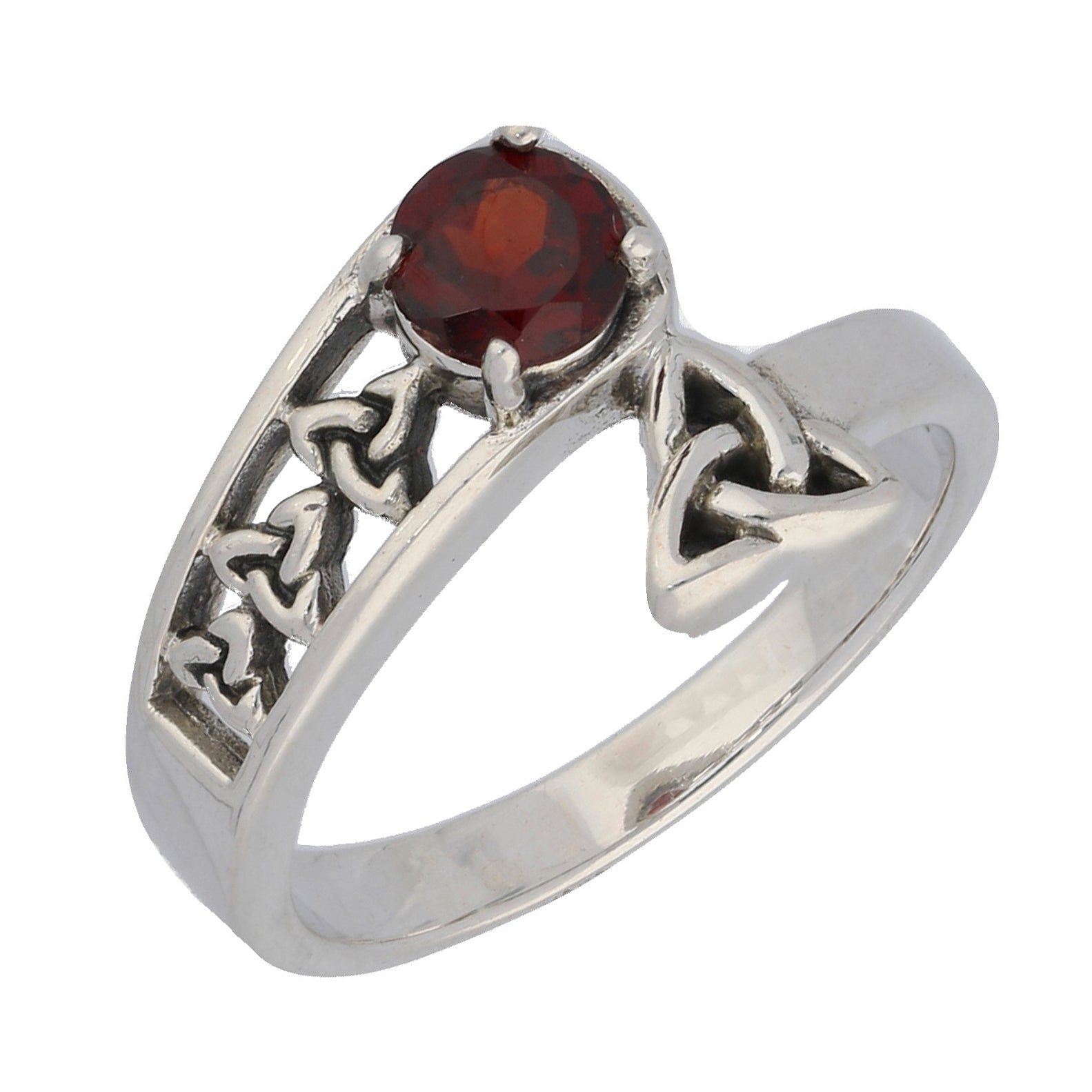 Triquetra Trinity Celtic Knot Garnet Sterling Silver Bypass Ring - Silver Insanity