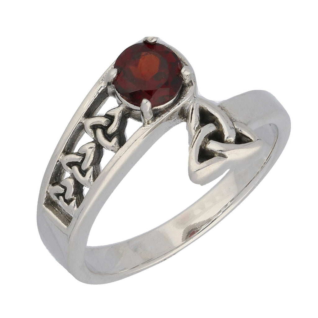 Triquetra Trinity Celtic Knot Garnet Sterling Silver Bypass Ring